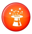 Magic hat with stars icon flat style vector image