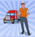 pop art trucker with truck vector image
