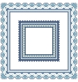 Set of Ethnic ornament pattern frames in blue vector image