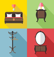 Furniture set with mirror in outlines Digital imag vector image