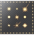 Set of glowing golden merry christmas stars vector image
