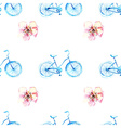 Watercolor bicycle with flowers vector image