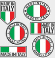 Made in italy label set with italian flag vector