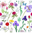 seamless floral pattern in on white vector image