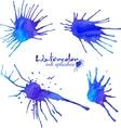 Blue watercolor blots set vector image