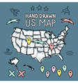 Hand drawn US map on chalkboard vector image