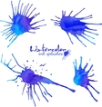 Blue watercolor blots set vector image