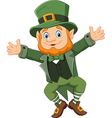 Cartoon happy leprechaun dancing vector image