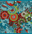 Colorful floral ethnic pattern vector image