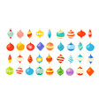 different christmas bauble clipart isolated on vector image