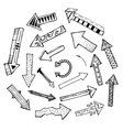 Hand drawn isolated arrow icons set on white vector image