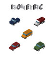 isometric automobile set of freight suv autobus vector image