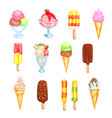ice cream cold dessert food watercolor set vector image vector image