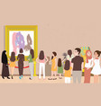 art gallery exhibition busy many people man woman vector image