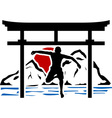 torii gate and jumping man in sunset vector image