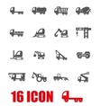 grey construction transport icon set vector image vector image