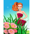 A pretty young girl in the meadow vector image