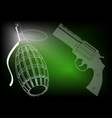 grenade and pistols on a green vector image