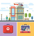 Hospital building with a helicopter on roof vector image