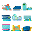 Modern Shopping Mall Buildings Architectural Set vector image