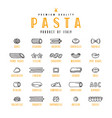 set of icons varieties of pasta vector image
