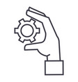 settings gears in hand linear icon sign symbol vector image