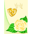 wedding rings doves and roses vector image