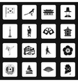 South Korea icons set simple style vector image
