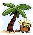 Palm tree and pirate chest on the seashore vector image vector image