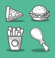 delicious fast food taste meal vector image