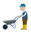 grandfather with a wheelbarrow vector image