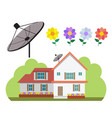 house with satellite dish and flower garden in vector image