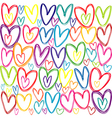 Seamless pattern with colored doodle hearts vector image vector image