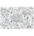 Big set of hand-drawn doodles objects and vector image