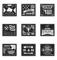 denim emblems or logos set vector image vector image