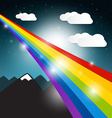 Rainbow with Clouds and Mountains on Night Sky vector image