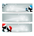 silvery christmas banners vector image vector image