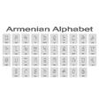 Set of monochrome icons with armenian alphabet vector image