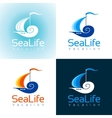 Summer sea travel logo sign with sailing ship vector image