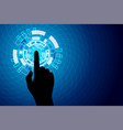 blue touch future technology internet security vector image