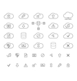 Cloud Storage Icons Set Outlined Thin line vector image