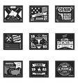 denim emblems or logos set vector image