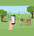 group of people sitting in the park and texting vector image