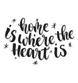 inspirational quote home is where the heart is vector image