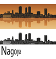 Nagoya skyline in orange vector image