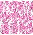 Seamless pattern of a feathers leaves and beads vector image