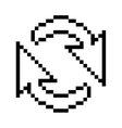 black outline pixelated cursor arrow for reload vector image