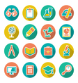 Set flat icons of school and education vector image