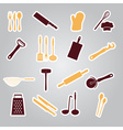 home kitchen cooking utensils stickers eps10 vector image vector image