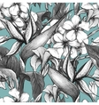 Monochrome seamless pattern with exotic flowers vector image vector image